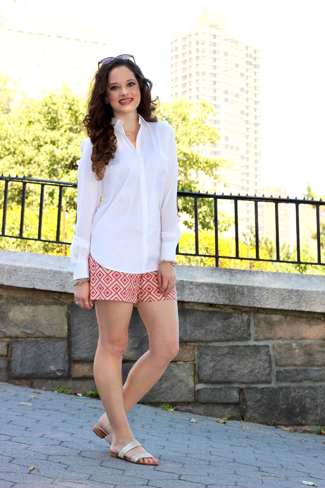 white button down shorts