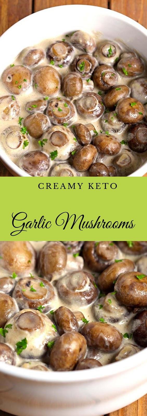 Creamy Keto Garlic Mushrooms #creamy #keto #garlic #mushroom #vegan