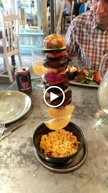 Animated gif of a hanging kebab at the Botanist in Chester England
