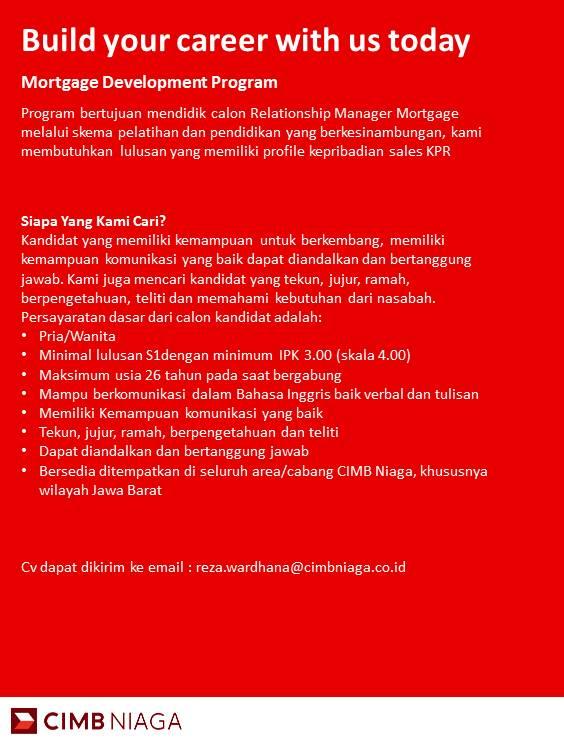 Penerimaan Karyawan PT Bank CIMB Niaga Tbk Program MDP