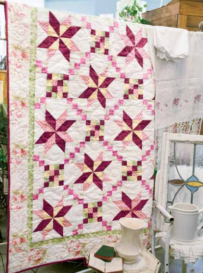 Porcelain Stars Bed Quilt Designed by Jennifer Bosworth for Quilting Company, Machine Quilted by Terry Engleman