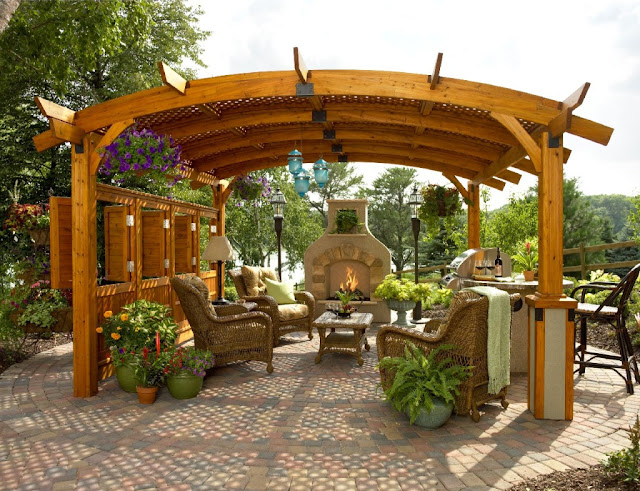 pergola design plans with fireplace