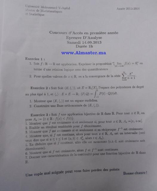 concours d u0026 39 acc u00e8s au master de math u00e9matiques et statistique