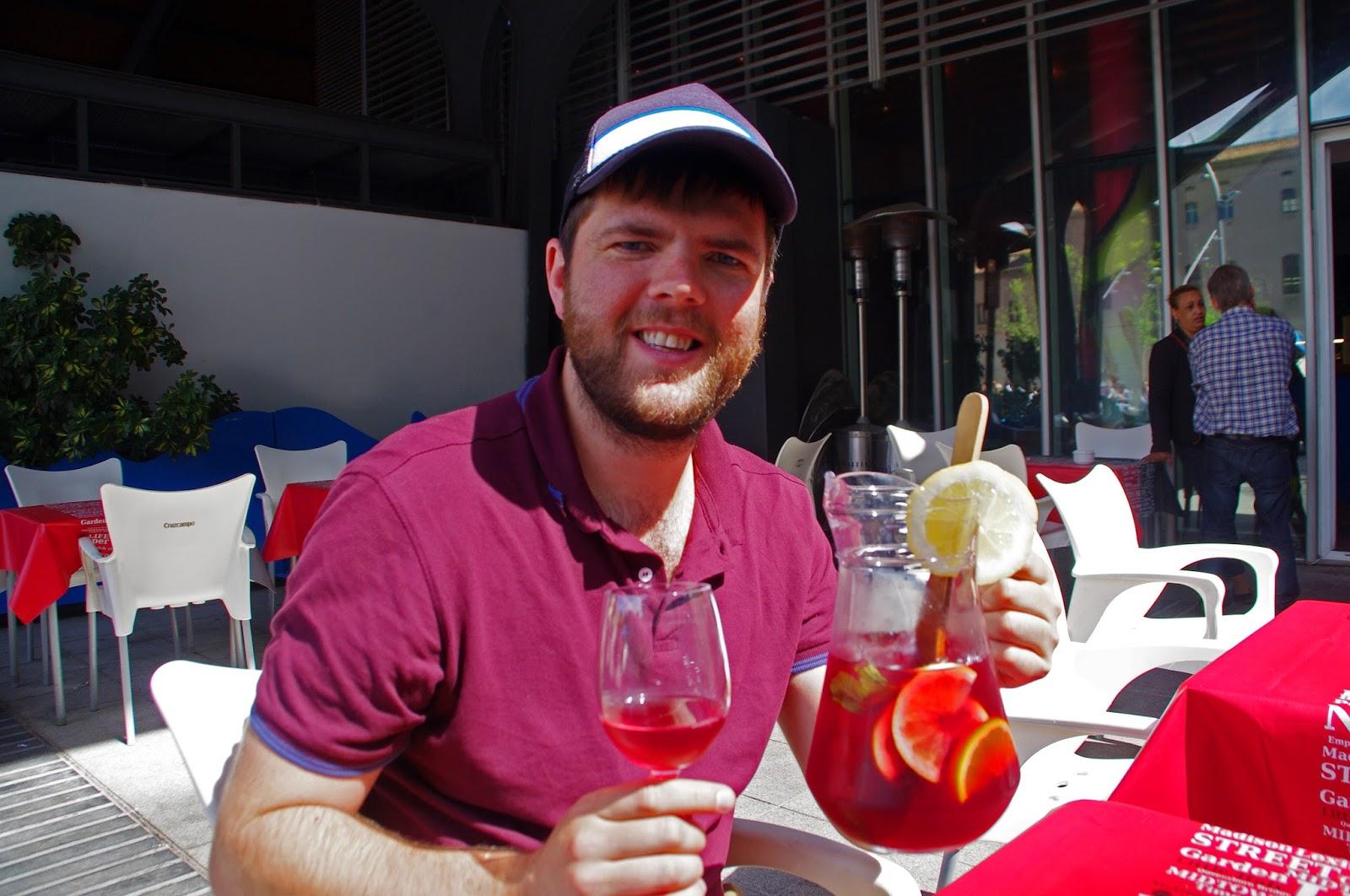 Dan with Sangria in Barcelona