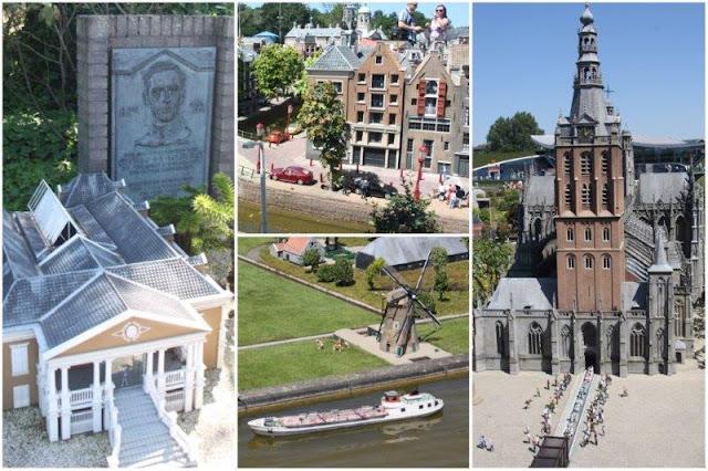 2 Willemstad en Curasao – 24 Calle y canal en Amsterdam junto a la Casa-Museo de Anna Frank – Molino y barco – 19 Catedral Sint Janskathedraal en Den Bosch en el parque Madurodam en La Haya Den Haag