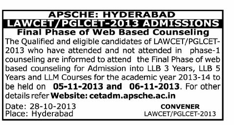 Lawcet Counselling 2013