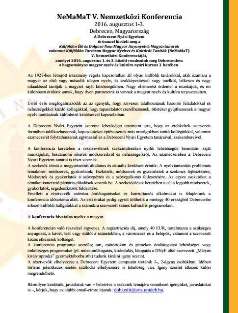 NeMaMaT V. Nemzetközi Konferencia