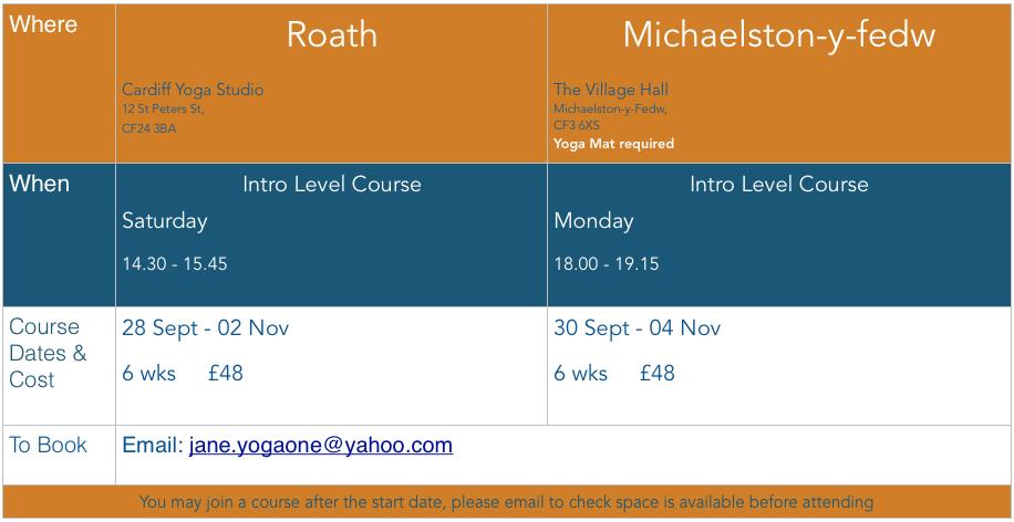 Yoga One Cardiff & Penarth: Timetable
