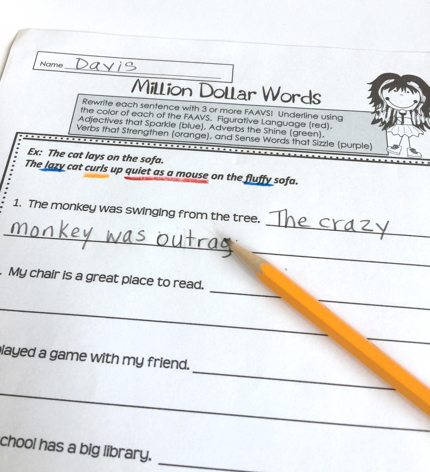Writing Mini Lesson #28- Million Dollar Words- WORD CHOICE   Rockin  Resources [ 1600 x 1459 Pixel ]