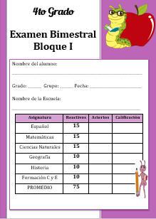 Examen Bloque 1 Cuarto grado 2016-2017