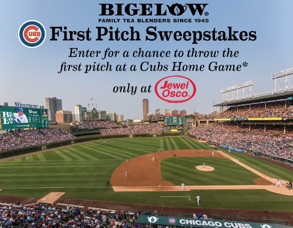 Bigelow Tea has teamed up with Jewel Osco and they want residents of Illinois, Indiana and Iowa to enter daily to win the chance to throw out the first pitch at a Chicago Cubs home game!
