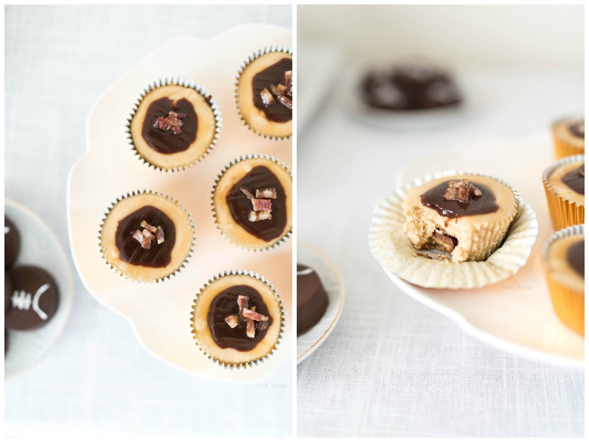 candied bacon, peanut butter mini cheesecakes, man food, tailgating food, football party food ideas, peanut butter dessert, easy peanut butter cheesecake, baked peanut butter cheesecake
