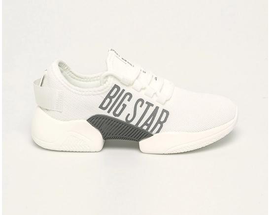 Adidasi femei albi Big Star cu platforma model nou cu logo mare