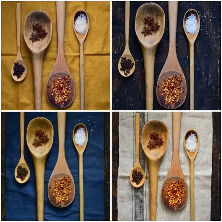 Alfabeto culinario. Cucharas de madera sobre distintas superficies para  fotografiar nuestro objeto culinario