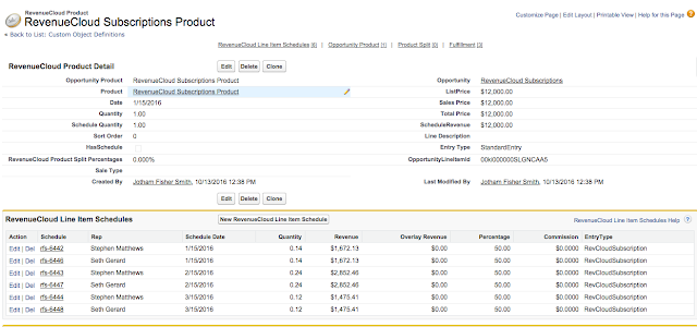RevenueCloud Product with Split and Prorated Schedule Entries