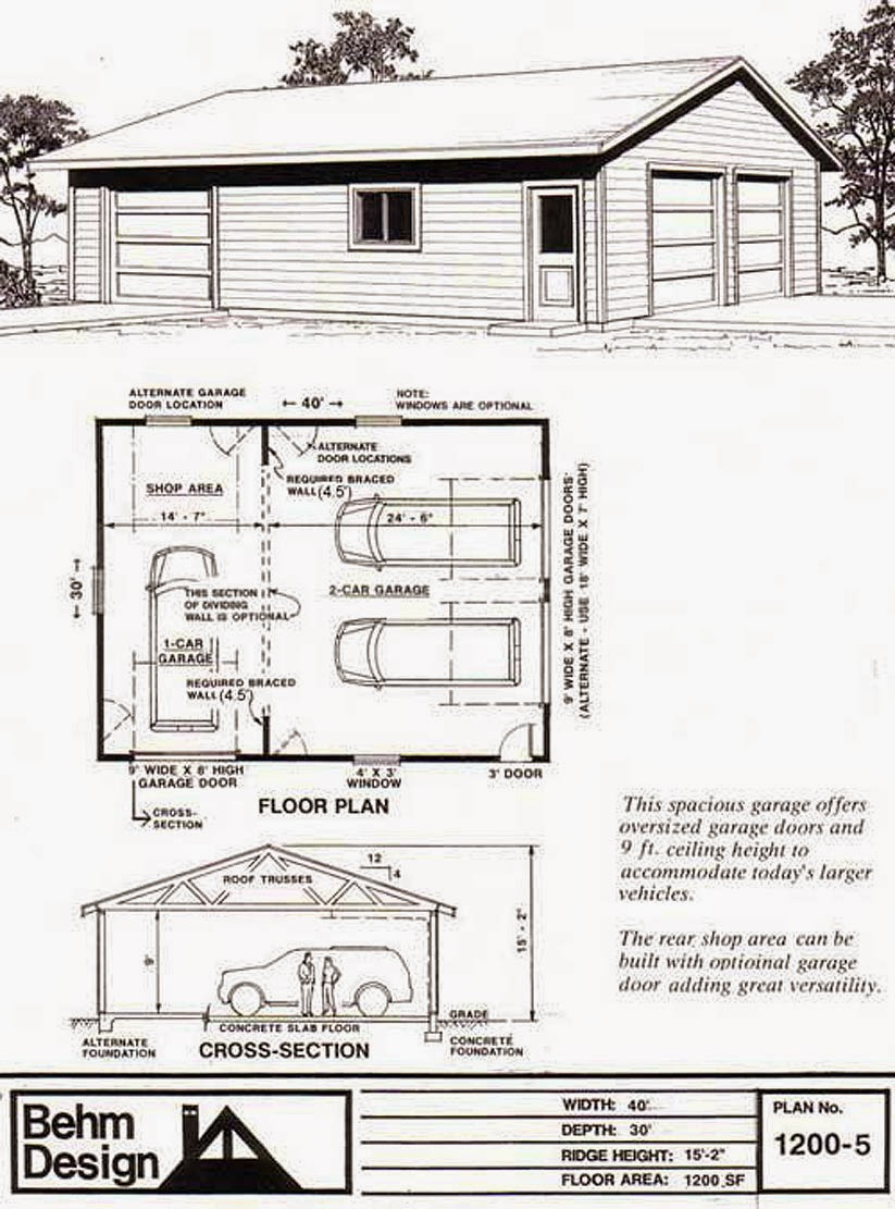 garage plans blog behm design garage plan examples garage plan 1200 5 large 2 car with rear. Black Bedroom Furniture Sets. Home Design Ideas