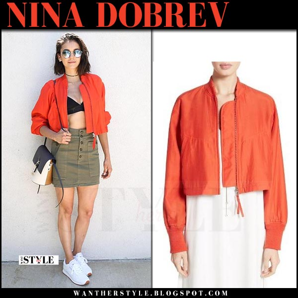 Nina Dobrev in red cropped jacket and khaki mini skirt what she wore coachella april 2017