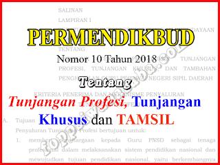PERMENDIKBUD NO. 10 TAHUN 2018 TENTANG TUNJANGAN DAN TAMSIL