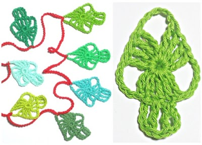 Guirnalda motivo árbol de Navidad a crochet