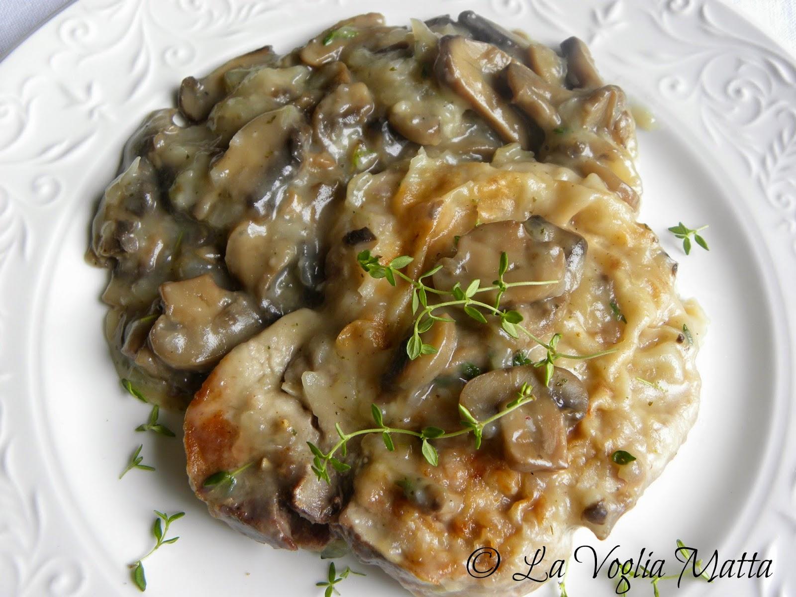 fettine di maiale al Marsala con champignon