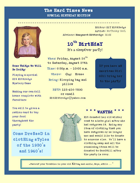 Kit Kittredge American Girl birthday party invitation