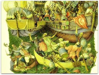 Detalhe de 'Batalha de Lepanto', Lorenz Heilmeier - Igreja do Rosário, Porto Alegre