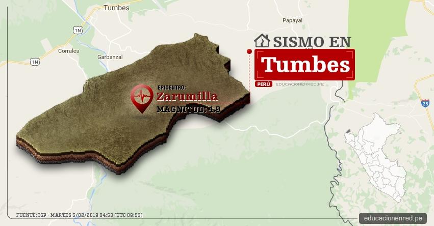 Temblor en Tumbes de Magnitud 4.9 (Hoy Martes 5 Febrero 2019) Sismo Epicentro Zarumilla - Contralmirante Villar - IGP - www.igp.gob.pe