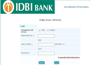 IDBI Admit Card Download/ Hall Ticket Download 2015