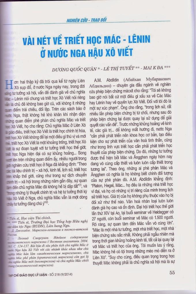Dương Quốc Quân, Lê Thị Tuyết, Mai K Đa - Vài nét về triết học Mác - Lênin ở nước Nga hậu Xô Viết