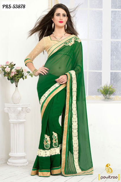 green color georgette designer party wear saree collection online shopping with discount offer sale at pavitraa.in