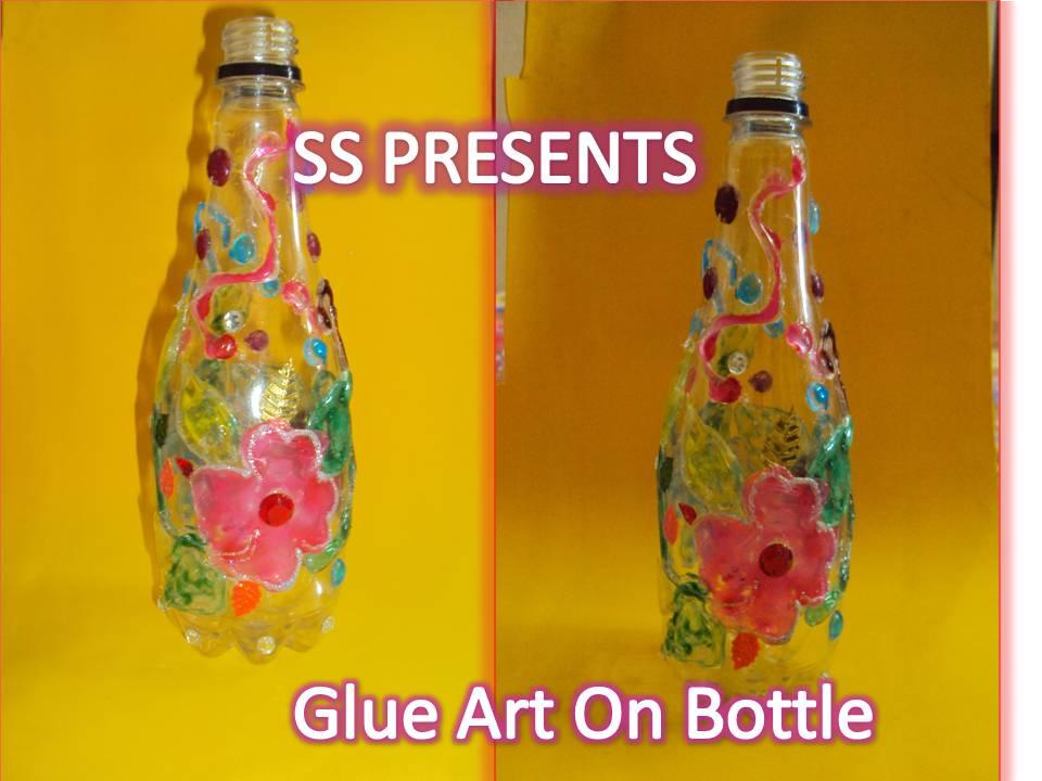 Glue gun art on plastic bottle ssartscrafts for Craft items made from plastic bottles