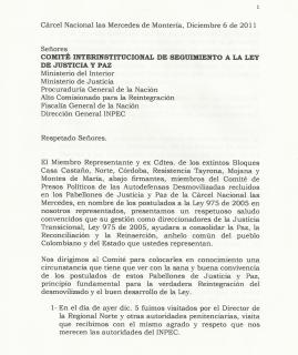 Carta al Comité Interinstitucional de Seguimiento a la Ley de Justicia y Paz