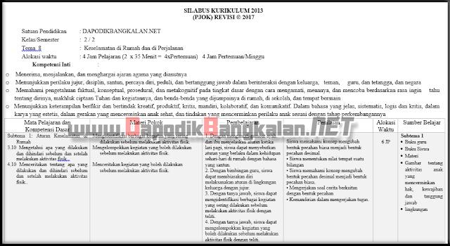 SILABUS PJOK Kelas 2 Kurikulum 2013 Revisi 2018