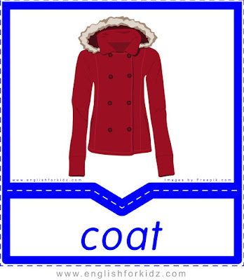 Coat - clothes and accessories flashcards to learn English