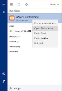 Pencarian aplikasi di windows