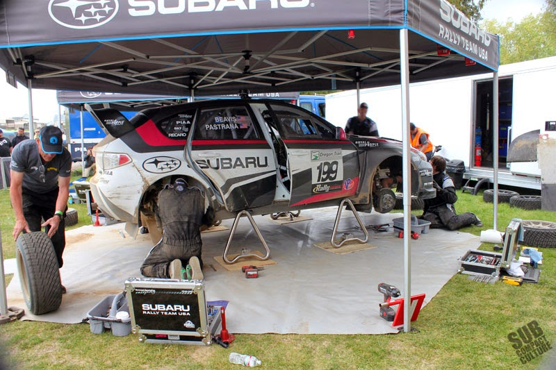 Travis Pastrana's Subaru in the pits