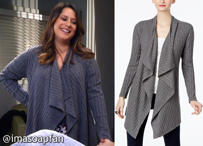 Robin Scorpio-Drake, Kimberly McCullough, Draped Grey Cardigan, GH, General Hospital
