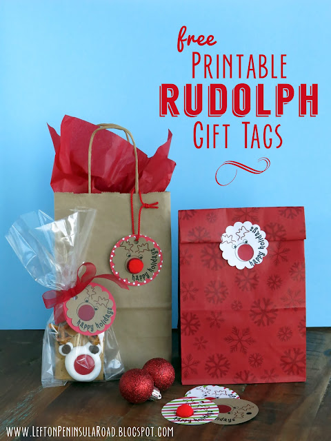 Round printable gift tags for Christmas.