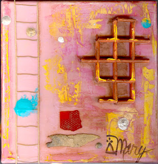 Mixed media on pink, Mary Rush Gravelle