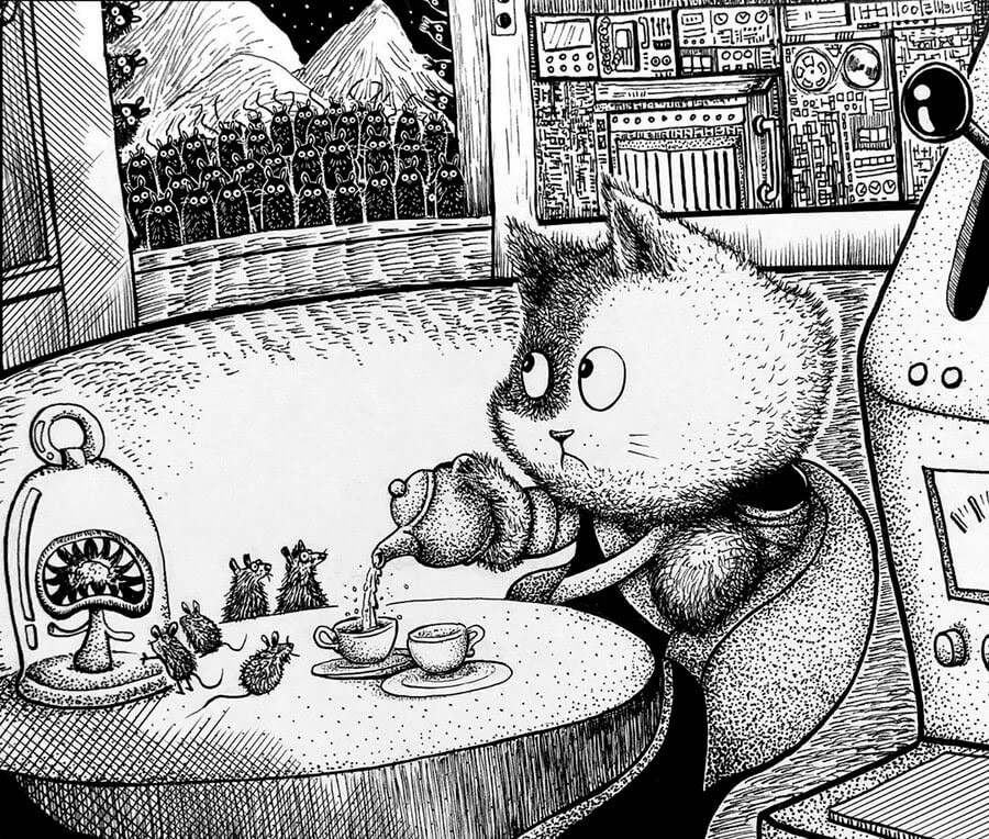 04-Tea-with-friends-Rex-Lee-Little-Creatures-www-designstack-co