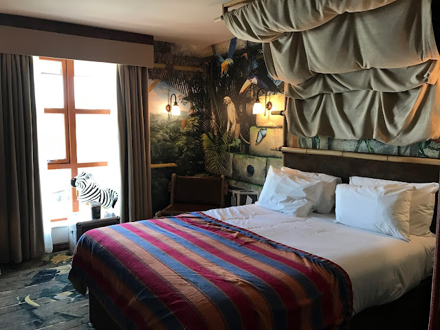 Our bedroom in the Chessington World of Adventures Azteca Hotel was a Temple Summit Room. The walls and carpet had pictures of temples, monkeys, birds and butterflies. The picture shows the double bed and is looking towards the window