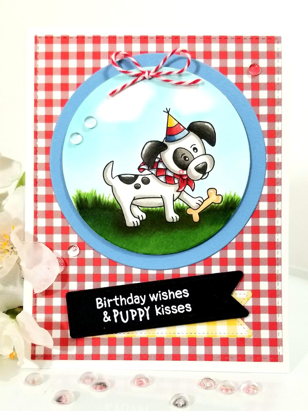 Birthday Wishes & Puppy Kisses Card by February Guest Designer Lori U'ren | Puppy Playtime Stamp Set by Newton's Nook Designs #newtonsnook #handmade