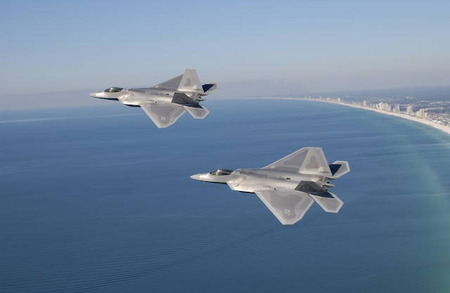 Fighter F-22 Raptor Flying Over Florida