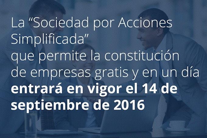 """MODELO PARA LA CREACION DE LA """"SOCIEDAD POR ACCIONES SIMPLICADA"""" Contitucion de empresas GRATIS"""