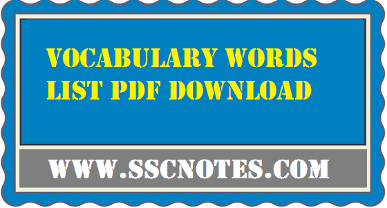 Vocabulary Words List The HINDU Compilation PDF Download