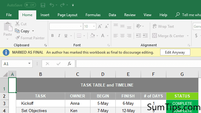 How to Mark Excel Workbook as Final