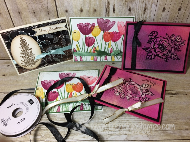 Easy Faux Box, Greeting cad with Bow, Ribbon Stampin'Up!, Tranquil Tulip, Lovely as a Tree