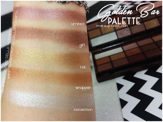 golden Bar makeup revolution palette choccolate swatches 1