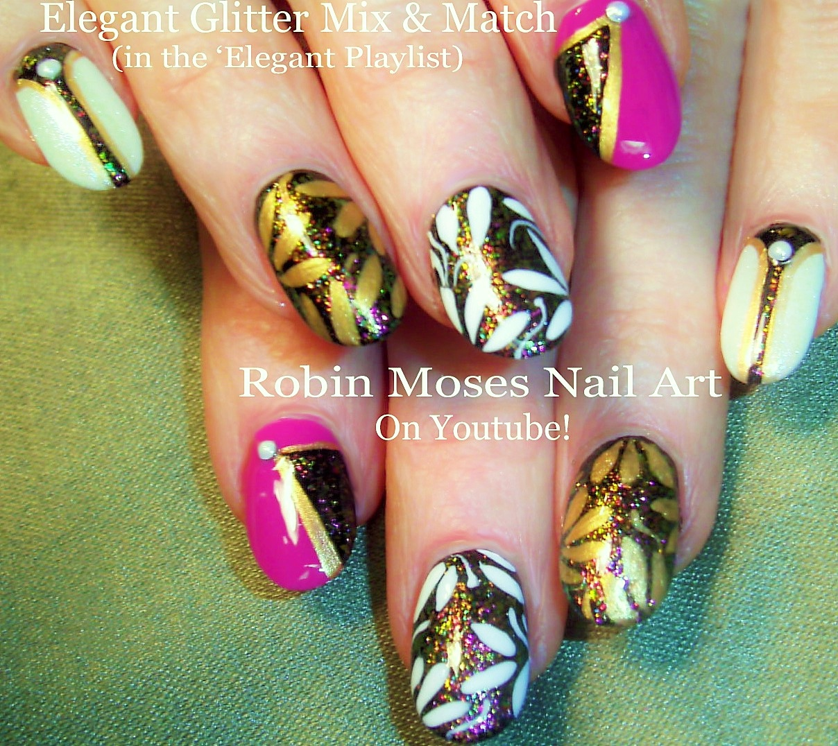 Nail Art By Robin Moses Neon Pink With White Butterfly Nail Art