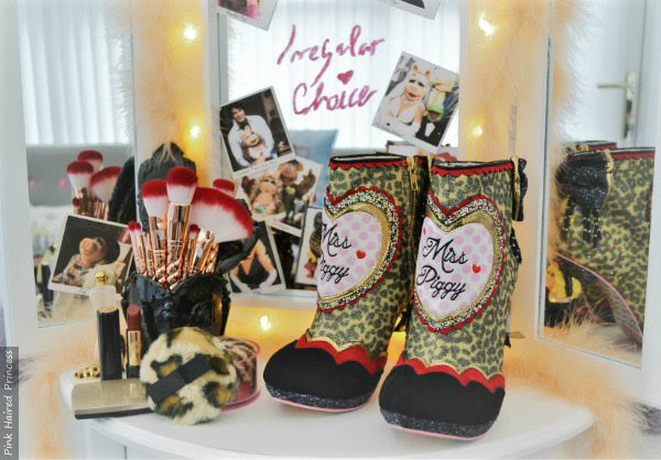 Irregular Choice Disney Muppets Fierce Piggy boots backstage dressing table scene with mirror